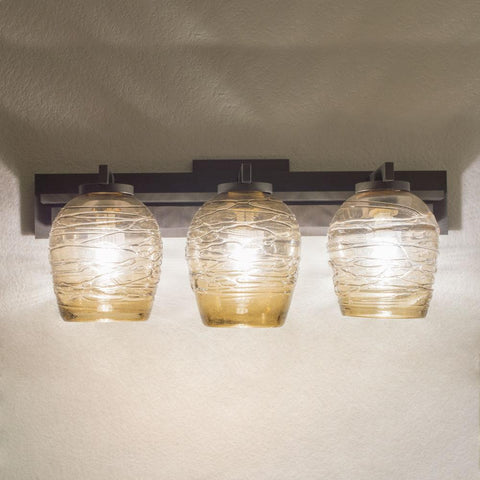 handcrafted art glass lighting for the bathroom