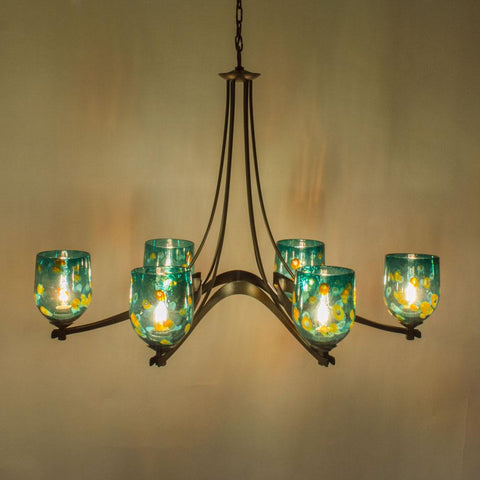 Image shows Emerald Ocean small straight dome shades with Dark Smoke metal finish