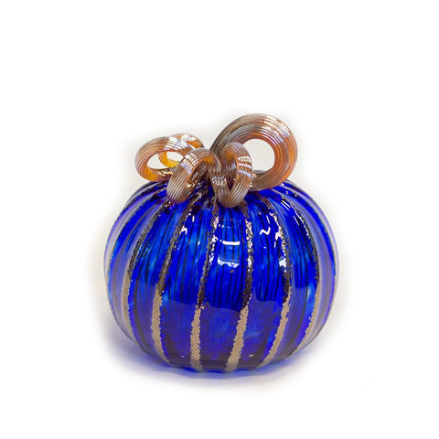 blue handmade glass pumpkin