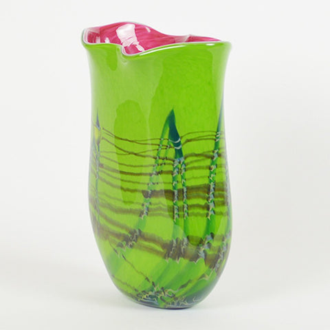 Tropical Bamboo Emerald Oblique Vase