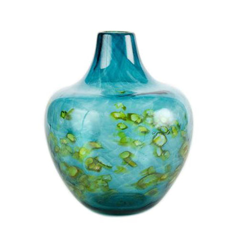 sea blue handmade glass vase