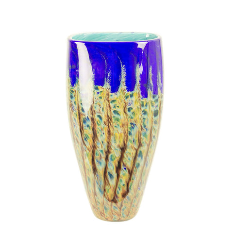 hand blown glass tall vase blue yellow red