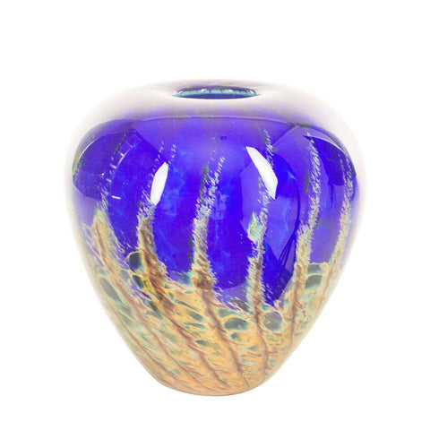 hand blown glass short vase blue red yellow