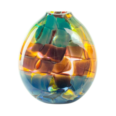 hand blown glass vase sphere rainbow multi color