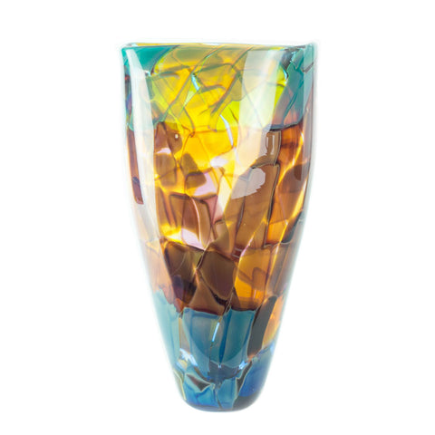 hand blown glass tall vase multi color rainbow