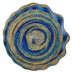 blue art glass platter