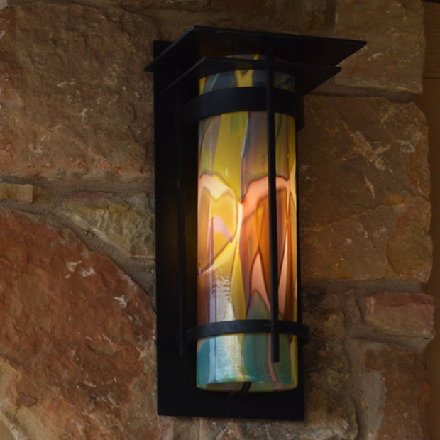 Banded Outdoor Sconce with Top Plate Medium