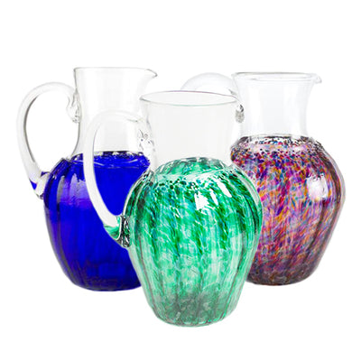 hand blown glass pitcher green blue multi colored