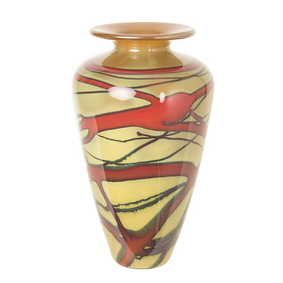 unique one of a kind art glass vase red gold