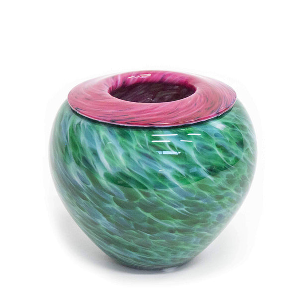Ruby on Green Folded Lip Bowl