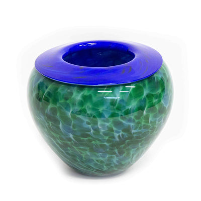 Sapphire on Green Folded Lip Bowl