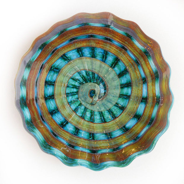 teal art glass platter