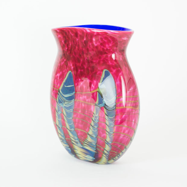 Tropical Bamboo Ruby Oblique Vase