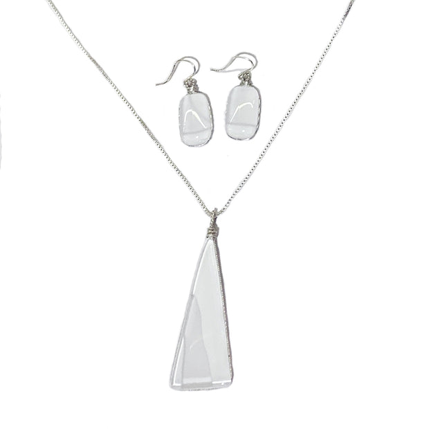 White Art Glass Jewelry Set
