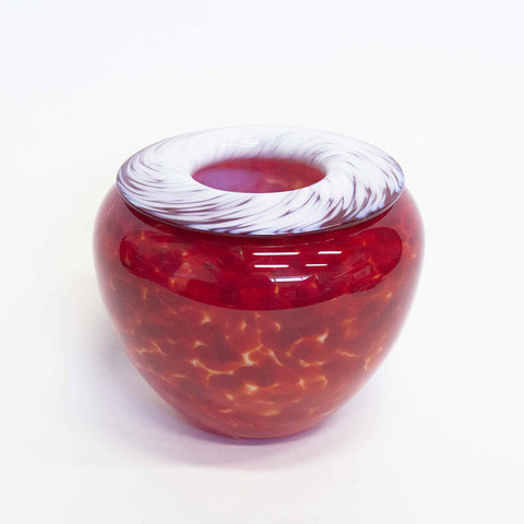 white red handmade art glass bowl vase