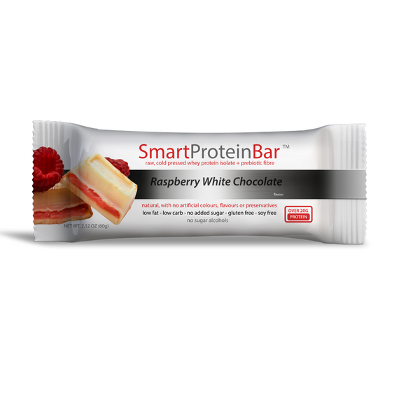 Smart Protein Bar 60g Raspberry White Choc - 12 Pack