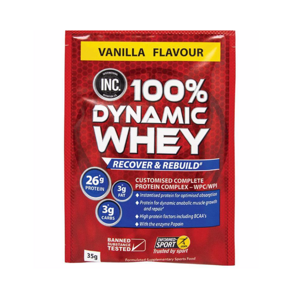 INC 100% Dynamic Whey sachets 35g - Choc - 15 Pack
