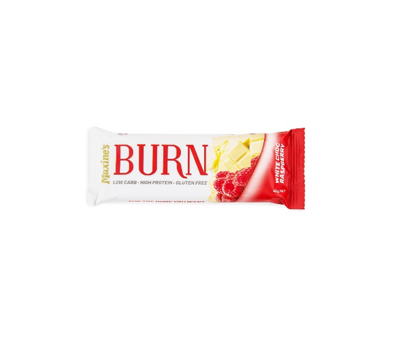 MAXINE'S Burn Bar - 40g - White Choc Raspberry - 12 Pack