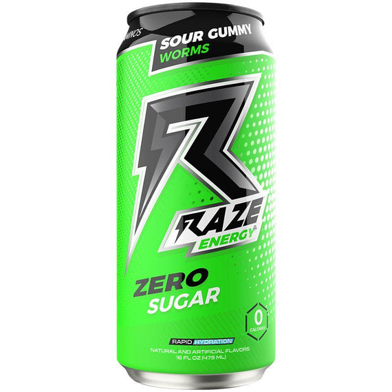 Raze Energy Drink 473ml Sour Gummy Worms - 12 Pack