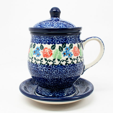 polish-pottery-teacup-infuser-plate-#1498