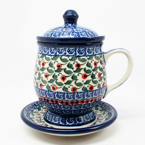 polish-pottery-teacup-infuser-plate-#1543