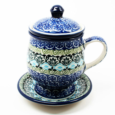 polish-pottery-teacup-infuser-plate-#1858