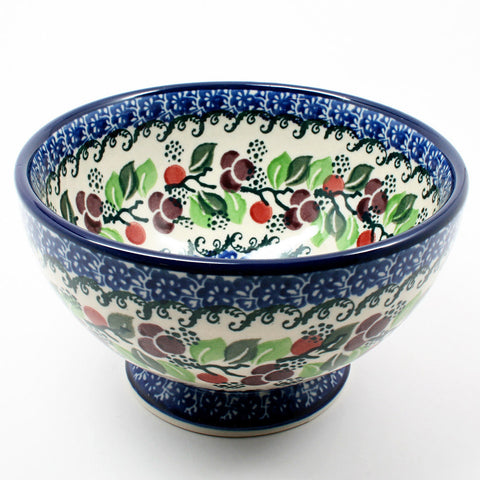 polish-pottery-small-pedestal-bowl-#1418