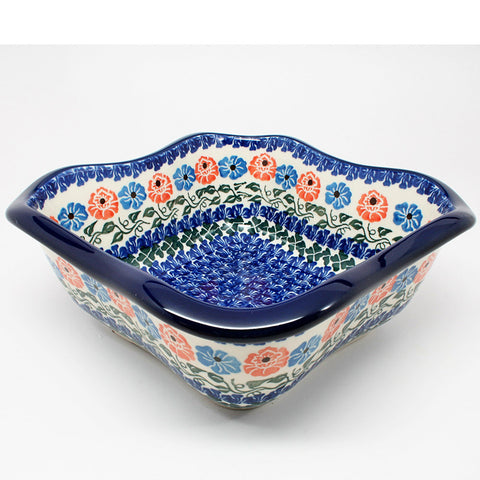 polish-pottery-wavy-square-bowl-#1369