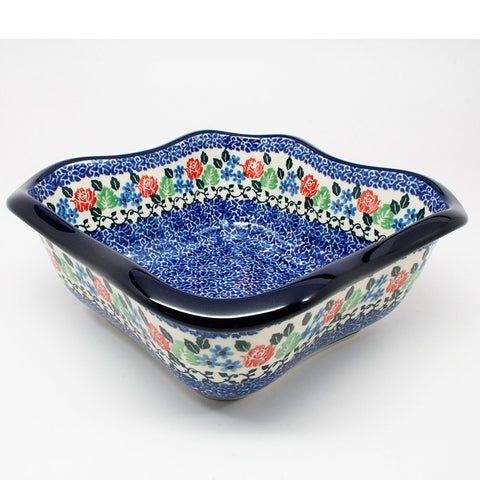 polish-pottery-wavy-square-bowl-#1498