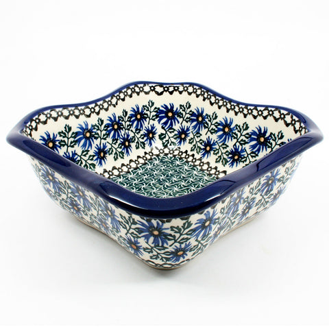 polish-pottery-wavy-square-bowl-#976