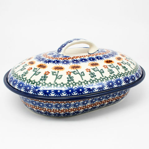 polish-pottery-medium-covered-roaster-#1207