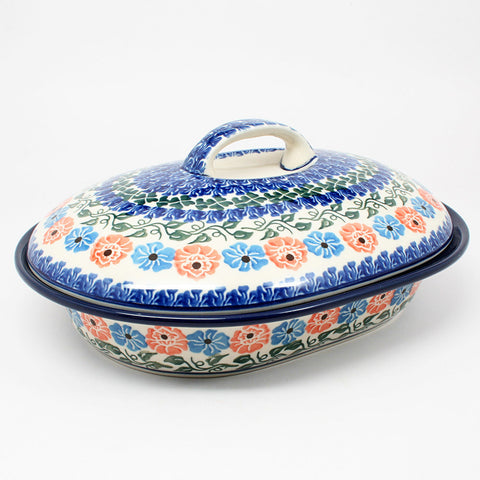 polish-pottery-medium-covered-roaster-#1369