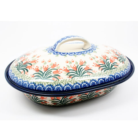 polish-pottery-medium-covered-roaster-#1432