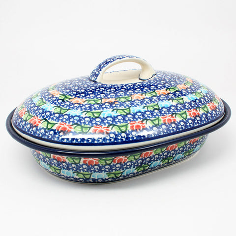 polish-pottery-medium-covered-roaster-#1725
