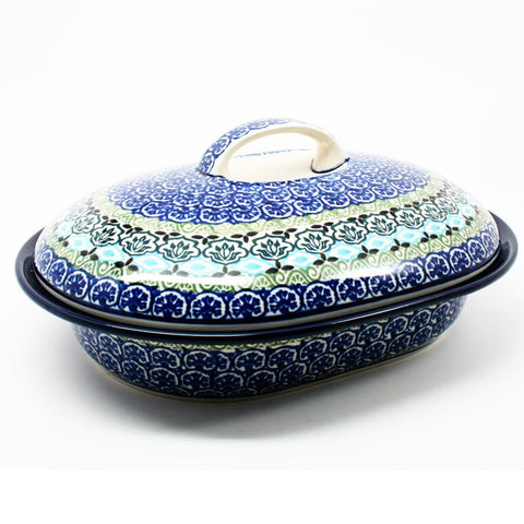 polish-pottery-medium-covered-roaster-#1858
