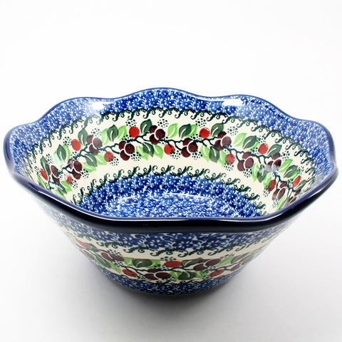 polish-pottery-wavy-bowl-#1418