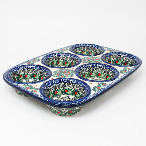 polish-pottery-muffin-pan-#1624