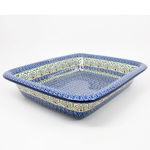 polish-pottery-large-rectangular-baker-#826
