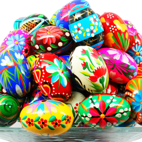 Pisanki (Pysanki) Hand-painted Polish Wooden Eggs - Bakers Dozen