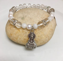 Load image into Gallery viewer, Rainbow Moonstone and Pearl Bracelet
