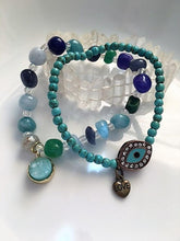 Load image into Gallery viewer, Magnesite Hamsa Love Bracelet with Quartz Druzy Bracelet. SET
