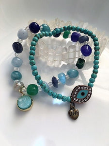 Magnesite Hamsa Love Bracelet with Quartz Druzy Bracelet. SET