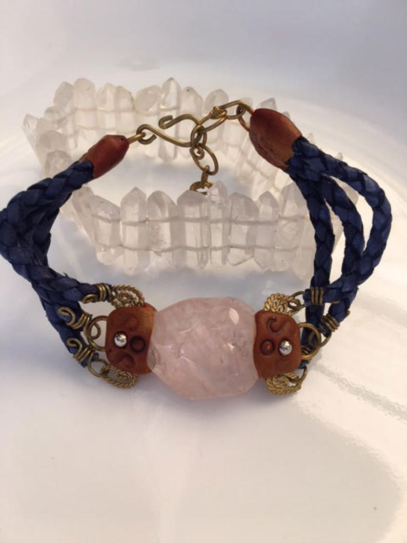 Braided Spiritual Jewelry with Rose Quartz