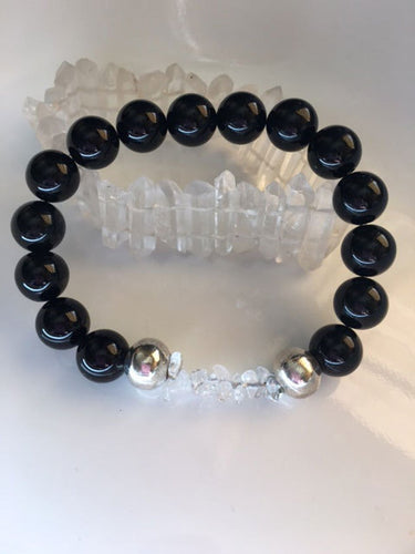 Black Onyx and Clear Quartz Bracelet