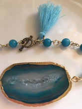 Load image into Gallery viewer, Blue Agate Slice and Turquoise Link Bracelet