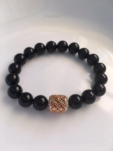 Black Onyx with Golden Rhinestone Bead