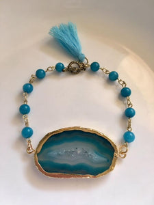 Blue Agate Slice and Turquoise Link Bracelet