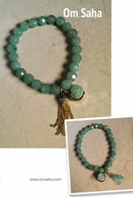 Load image into Gallery viewer, Green Aventurine Druzy Tassel Bracelet