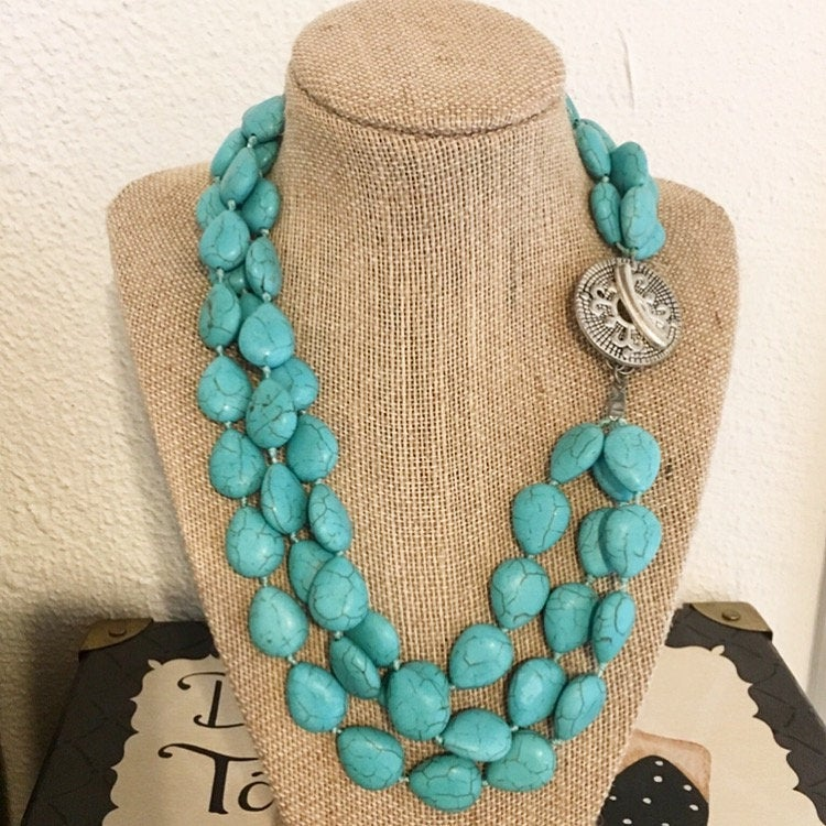 Magnesite Three Strand Necklace