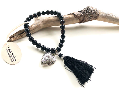 Black Onyx Tassel and Locket Bracelet